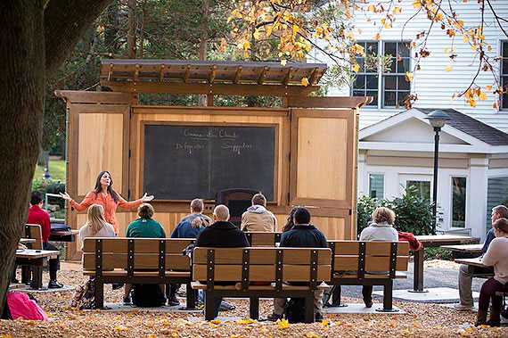 Communications Professor Grace Fala teaching class in Juniata College's outdoor classroom, a gift from the class of 2014