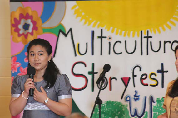 A Juniata College student performs at the 2015 Multicultural Story Festival