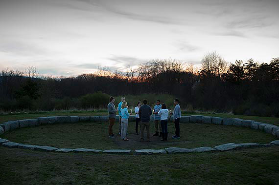 A gathering at Juniata College's Maya Lin designed Peace Chapel