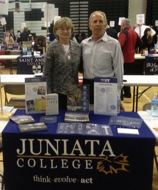 Laurie and Rich representing Juniata College at a College Fair