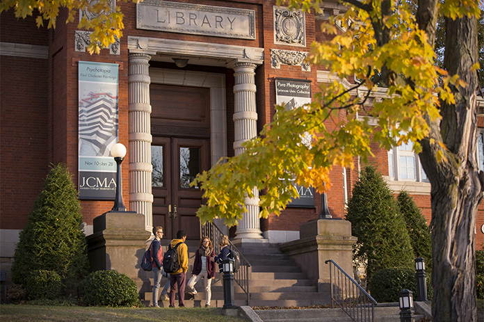 Students outside of Carnegie Hall, home of the Juniata College Museum of Art