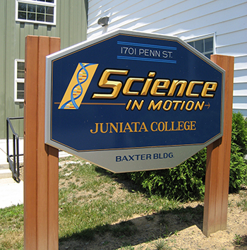 Science in Motion Sign at Juniata College