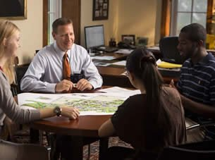 President Troha with Students at Juniata College