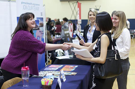 Juniata College Students meet employers during the 2015 Career Fair