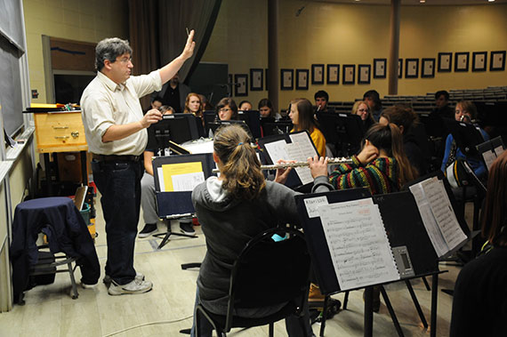 Music Professor Russ Shelley teaching in Juniata College's outdoor classroom