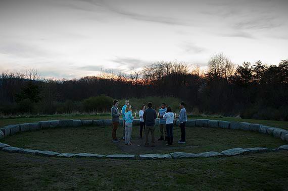 A gathering at Juniata College's Maya Lin designed Peace Chapel