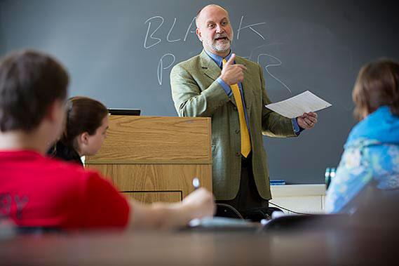 Political Science professor Neil Nagengast teaches class