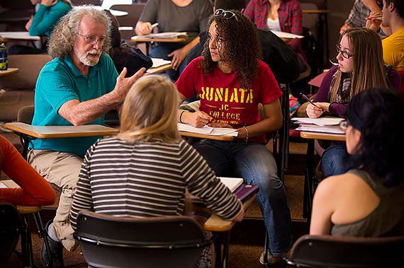 Professor Emeritus Robert Reilly and students