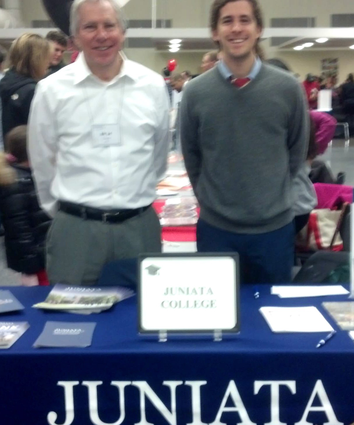 Bill Chew and Casey Chew representing Juniata College at a College Fair