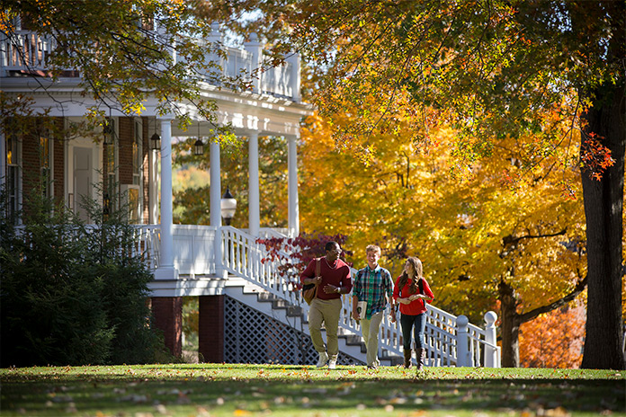students walking by founder's steps photo