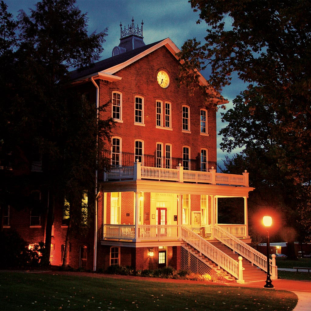Founders Hall at night