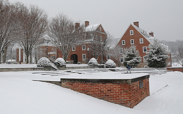 Juniata College campus blanketed in snow. Again.
