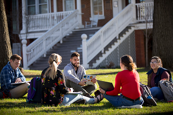 Study group on the lawn