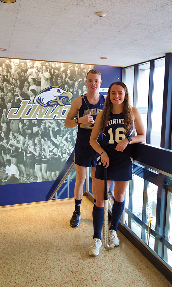 Juniata athletes, cross-country runner Evan Ulrich '20 of Homer, N.Y., and field hockey player Madison Miller '20 of York, Pa., pursue excellence in both their academic and athletic pursuits.