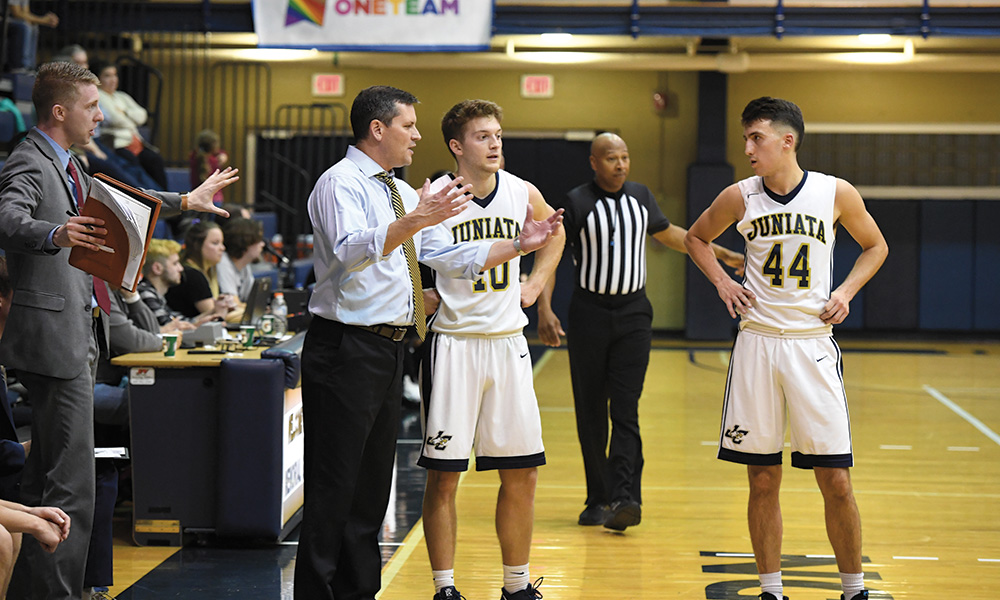 """Athletic director Greg Curley, left, described Juniata's athletes as having """"big plans, big aspirations, and a strong sense of purpose, without taking themselves too seriously."""""""