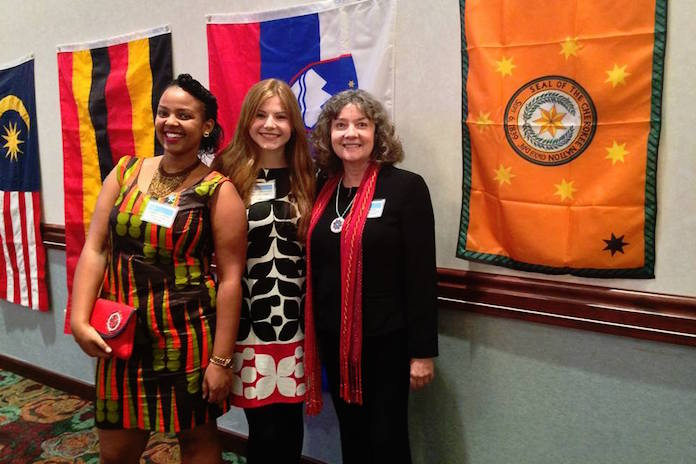 Students Liliane Umuhoza, Adrienne Ballreich, and Dr. Polly Walker at United Nations Day Celebrations 2015