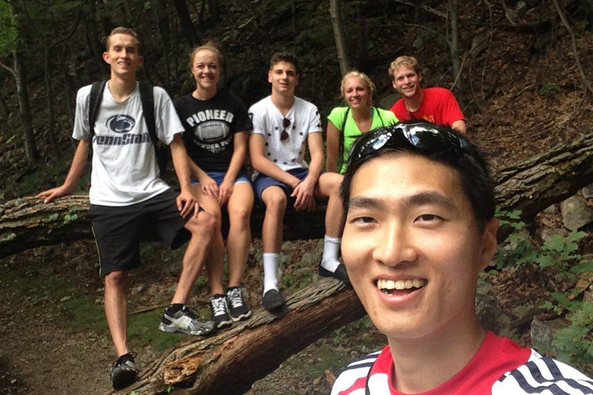 Sam with his friends at 1000 steps a popular hiking trail in Huntingdon County.